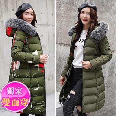 【韓國K.W.】米蘭時尚一衣雙面可穿毛領羽絨外套-1色