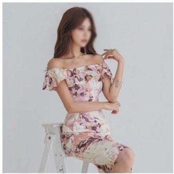 ファッションプリントワンピース襟フリル痩身エレガントなバッグヒップスカート (Color : Picture color, Size : XL)