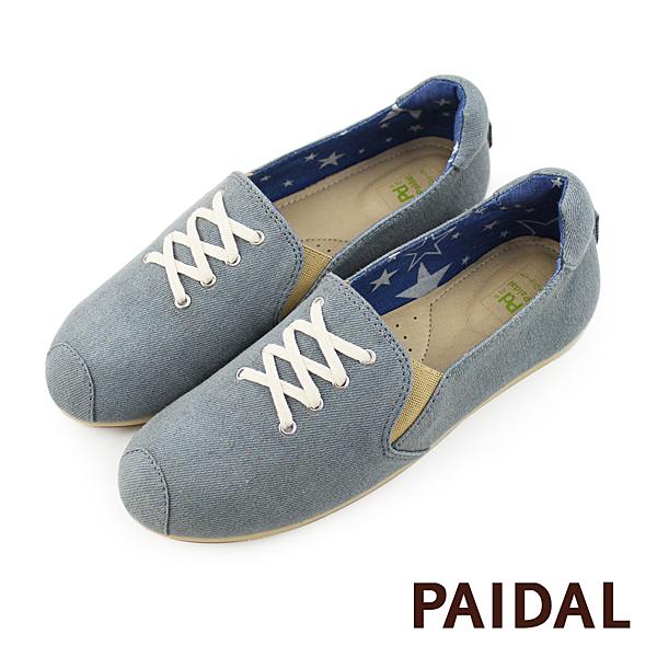 Paidal 假鞋帶刷色牛仔平底樂福鞋懶人鞋