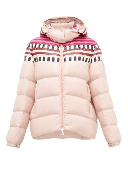 1 Moncler Pierpaolo Piccioli - Evelyn Colour-block Quilted Down Hooded Jacket - Womens - Light Pink