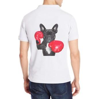 半袖 ポロシャツ メンズ 大きいサイズ ロゴ プリント クラシック ボクシング フレンチブルドッグ 犬 Poloシャツ 軽量 吸汗通気 Tシャツ バックプリント 抗菌防臭 カジュアル シャツ シンプル 通気性 おしゃれ S-2XL