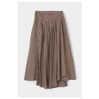 マウジー moussy GINGHAM FLARE SKIRT (ブラウン)