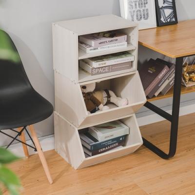 樂嫚妮 收納櫃/置物櫃/玩具櫃/二層空櫃-3入組-木紋白色