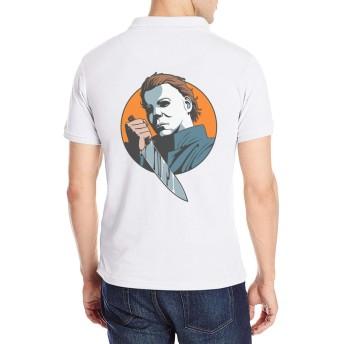 半袖 ポロシャツ メンズ 大きいサイズ ロゴ プリント クラシック マイケル マイヤーズ Poloシャツ 軽量 吸汗通気 Tシャツ バックプリント 抗菌防臭 カジュアル シャツ シンプル 通気性 おしゃれ S-2XL