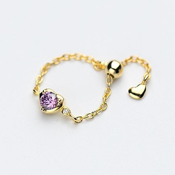 925純銀 小愛心心型紫水晶 可調整軟鏈戒指-金 防抗過敏 不退色