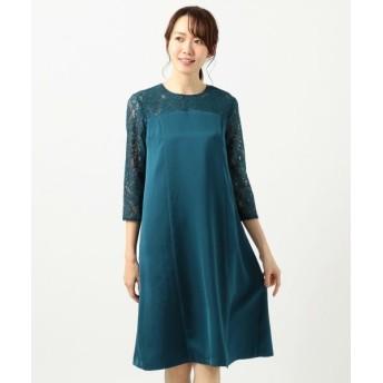 L size ONWARD(大きいサイズ)/エルサイズオンワード 【洗える】レースコンビサック ドレス ディープグリーン 4