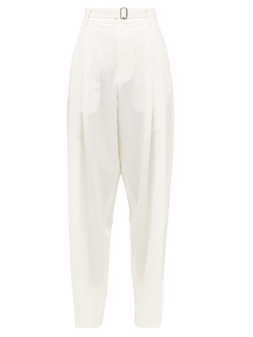 Edward Crutchley - Pleated Belted Wool Trousers - Womens - Ivory
