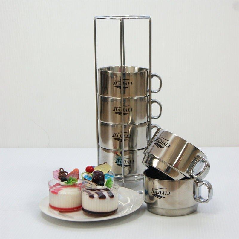 【Treewalker露遊】不銹鋼 不鏽鋼 咖啡杯(含收納杯架) 居家露營不燙手 咖啡杯 套杯組-6入