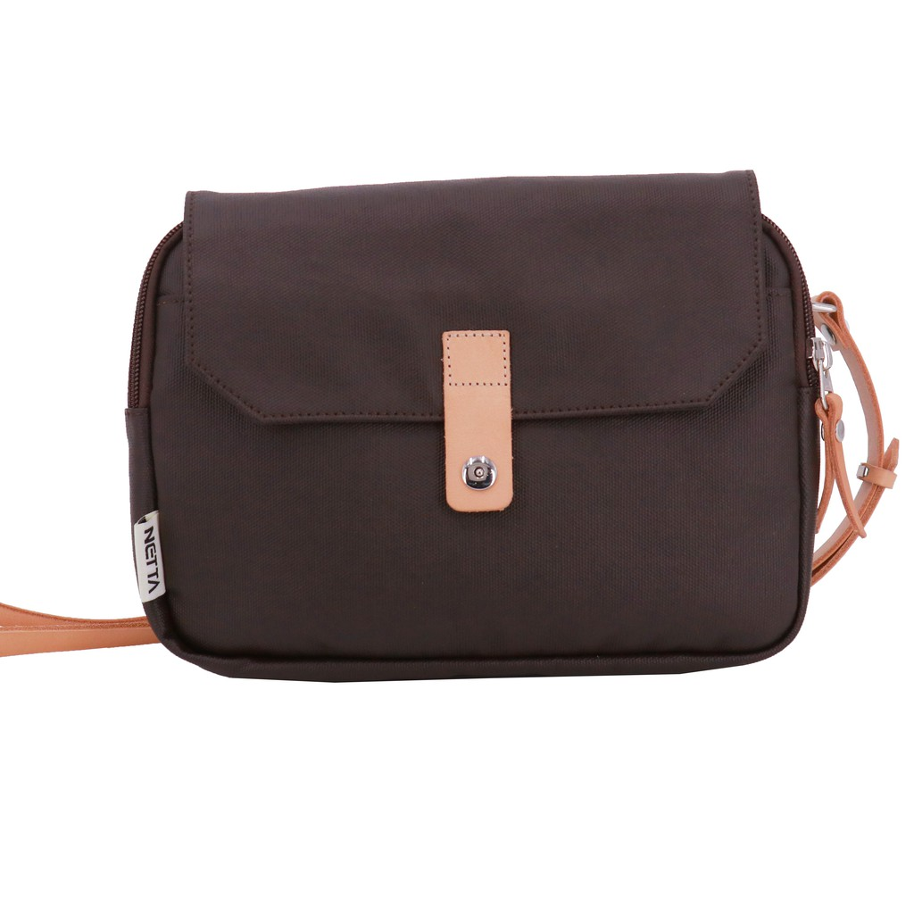 NETTA限量帆布覆膜兩用包 / 咖啡 帆布覆膜斜背包 / 防潑水簡約休閒功能斜背包兼腰包