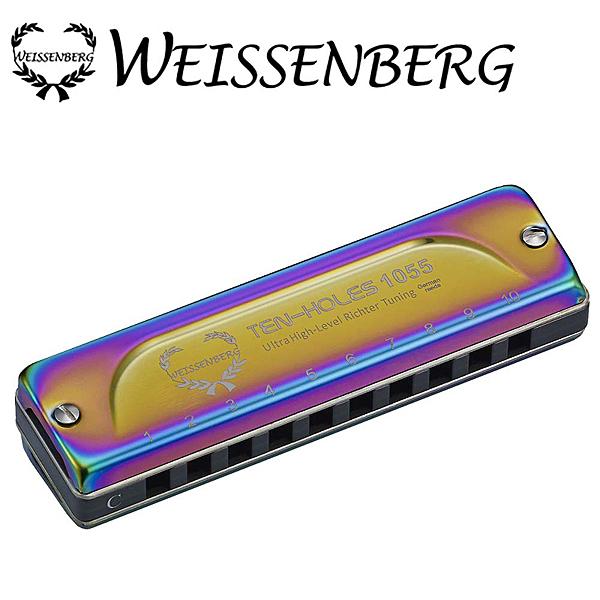 WEISSENBERG- 特級款1055-BL 10孔全罩式鍍鈦藍調口琴-湛藍色
