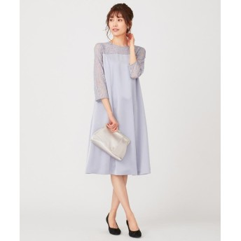 (anySiS/エニィ スィス)【洗える】レースコンビサック ドレス/レディース スモーキーブルー