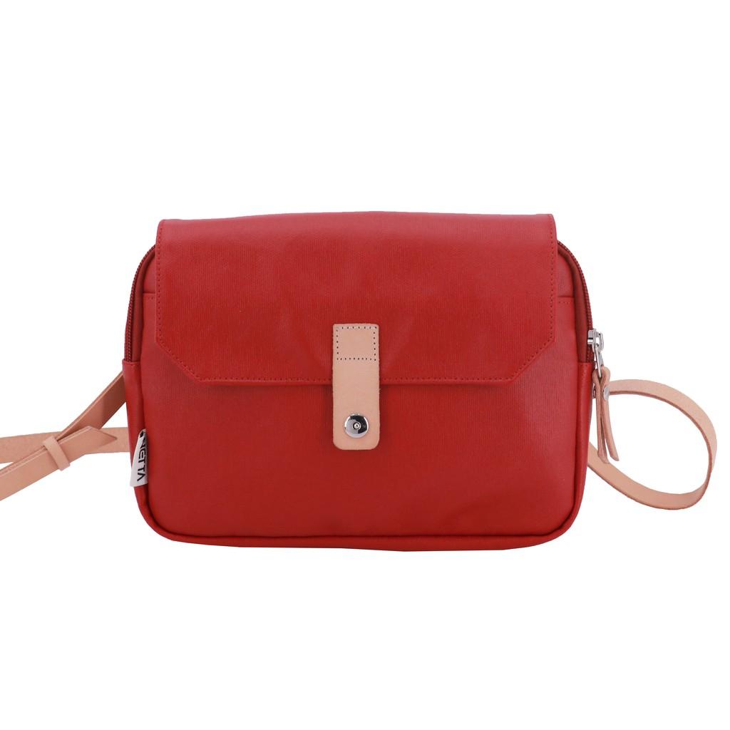 NETTA限量帆布覆膜兩用包 / 紅色 帆布覆膜斜背包 / 防潑水簡約休閒功能斜背包兼腰包