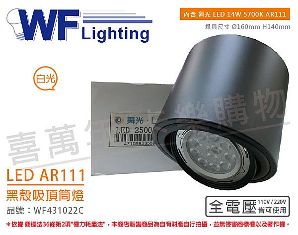 舞光 LED-25002-BK 14W 5700K 白光 全電壓 AR111 黑殼 吸頂筒燈 _ WF431022C
