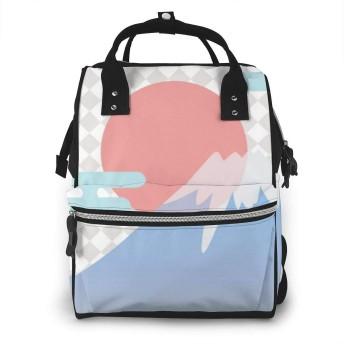 ミイラバッグ トートバッグ マザーズバッグ ママバッグ マザーズリュック 和風富士山のオシャレな和柄 ベビー用品収納 おむつポーチ 大容量 ポケット付き