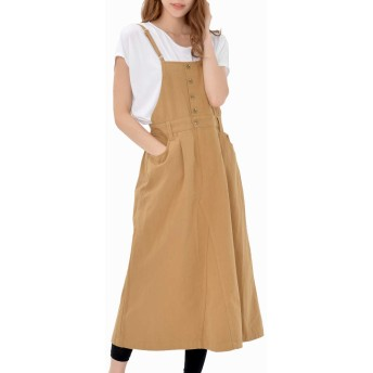 [JANJAMCOLLECTION]大きいサイズ レディース ワンピース ジャンパースカート サロペット ミモレ丈 アジャスター 肩紐調節可能 cotton100 キャメル 4L