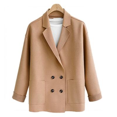 【韓國K.W.】OL素色雙排扣拿鐵色系毛呢外套-1色