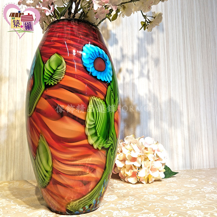 琉璃立體彩繪浮雕夕紅晚霞大肚花瓶 【築巢傢飾】