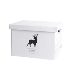附蓋白色收納箱 -麋鹿