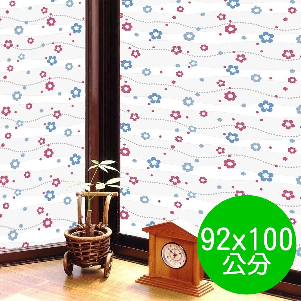 日本MEIWA 抗UV節能3D靜電窗貼 (亮彩花瓣) - 92x100公分