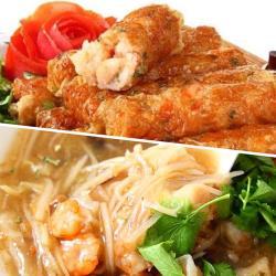 高興辦桌(大囍臨門)-府城蝦捲+干貝魚翅海鮮羹2件組(1600±50g)