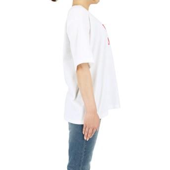 Tシャツ - coca シンプルロゴプリントTシャツ(カットソー 半袖 トップス 薄手 ラウドネック オーバーサイズ 5分袖 ロング丈 綿100%クルーネックドロップショルダー プルオーバー グラフィック 夏物 全2色 19ss coca コカ)