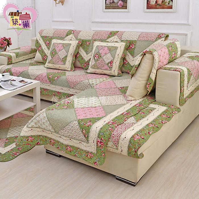 外銷無甲醛無毒超舒適全棉質拼布绗縫沙發墊(花韻綠色)【築巢傢飾】