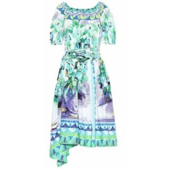 プラダ Prada レディース ワンピース ワンピース・ドレス Printed cotton poplin dress Turchese