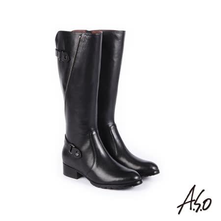 A.S.O 簡約線條 細緻質感壓紋真皮長靴 黑