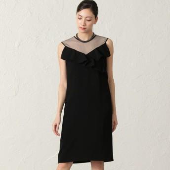 【エポカ(EPOCA)】 バックサテンジョーゼット ドレス 黒