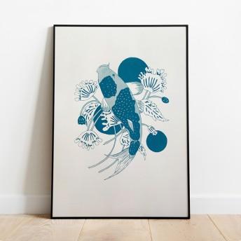 ラムネカラーのシルクスクリーンA2ポスター -鯉と影-
