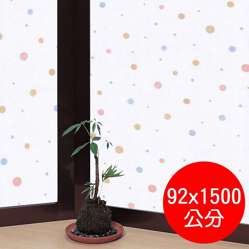 日本MEIWA 節能抗UV靜電窗貼 (和風彩球) - 92x1500公分