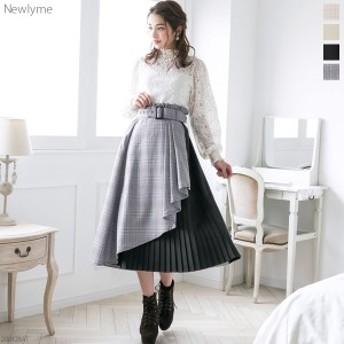 【春新作】[ラッフルラッププリーツ切り替えスカート|NL|FN|CS||]【2020SS】◆入荷済
