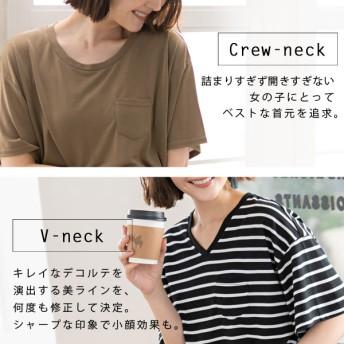 胸ポケット付きクルーネックorVネックTシャツ