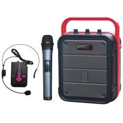 大聲公樂利型無線式多功能行動音箱/喇叭 (手持+耳麥組)
