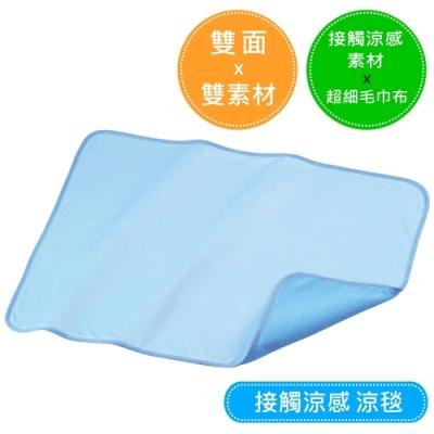 接觸涼感 雙面雙素材涼毯 (水藍色)