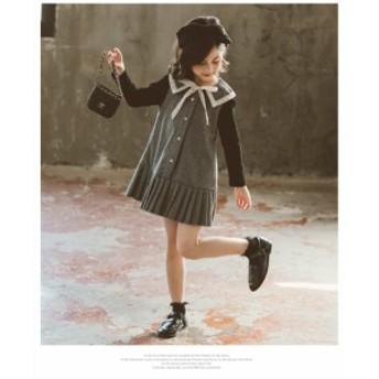 韓国子ども服 ワンピース  女の子  春 長袖 ジュニア チェック柄  フェイクレイヤード プリーツ フォーマル 学園 スウィート プリンセス