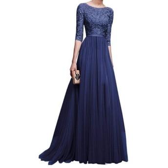 女性のストラップレスチュニック Dongkuanドレスセクシーなスリム薄いレースのステッチビッグスカート ハーフポルカベルト (Color : Blue, Size : 2XL)