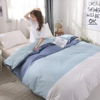 柔らかく快適 寝具4ピースライトブルーホワイトミニマリストストライプアロエコットンアクティブなプリントと染色コットンスイートベッドルーム