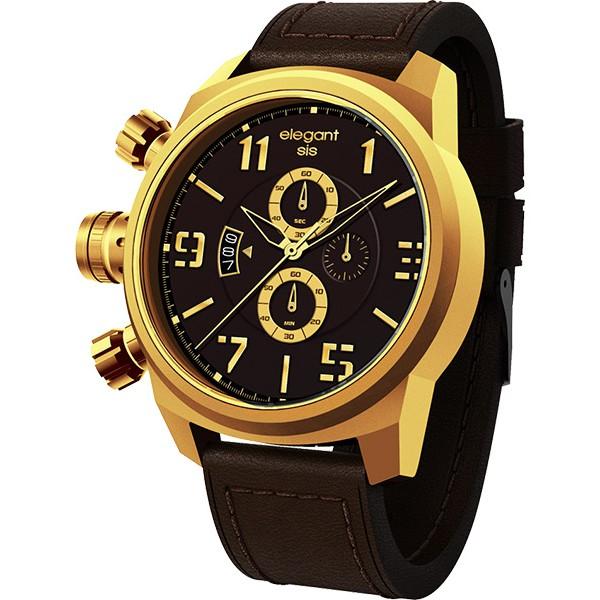 elegantsis Army 叢林戰鬥強悍三眼計時腕錶-黑x金/42mm ELJT48S-OB08LC