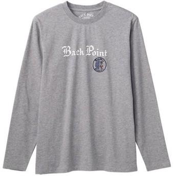20%OFF【メンズ】 綿100%プリントTシャツ(長袖) ■カラー:ミディアムグレー ■サイズ:M,L,LL,3L,5L