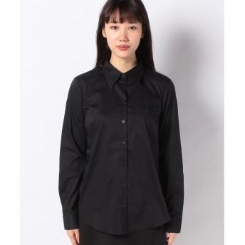 BENETTON (women) ストレッチボディシェイプシャツ・ブラウス(ブラック)【返品不可商品】