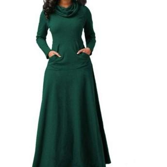 女性のストラップレスチュニック 秋と冬のソリッドカラーステッチポケット長いセクションの襟の大きなスイングドレス ハーフポルカベルト (Color : Green, Size : L)