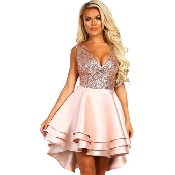 レディースイブニングドレス ノースリーブハイウエストショートドレススパンコールVネックAラインスカートセクシーなドレス パーティードレス ブライズメイド ドレス (Color : Pink, Size : S)
