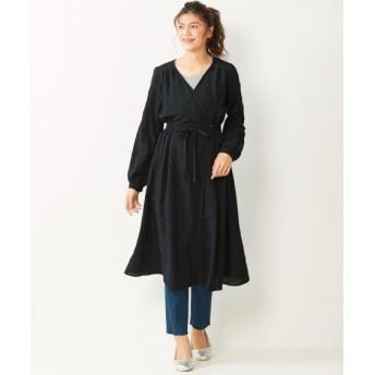 綿麻素材カシュクールワンピース (大きいサイズレディース)ワンピース, plus size dress