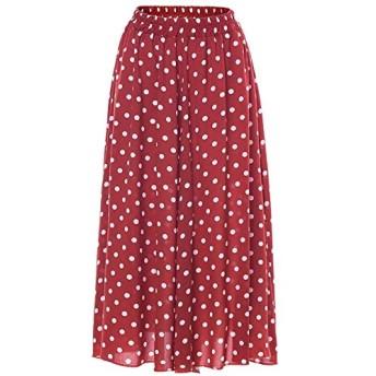 レディースカジュアルスカート シフォンスカートラップボヘミアンロングスカートビーチスカート水玉 女性のAラインミディスカート (Color : Red, Size : XL)