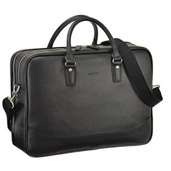 平野鞄 ビジネスバッグ メンズ ブリーフケース B4 A4 2ルーム 2室式 ショルダー付き 2way 黒 ブラック 通勤 ビジネス 横幅42cm +牛革製ケーブルバンド
