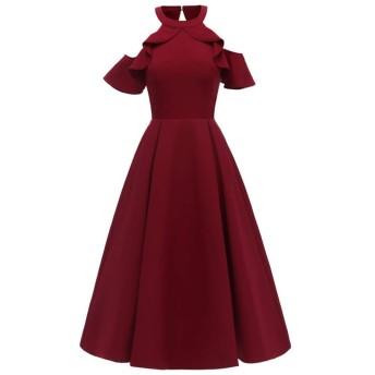 女性のストラップレスチュニック ホルターストラップレスの大きなスイングドレス ハーフポルカベルト (Color : Claret, Size : L)