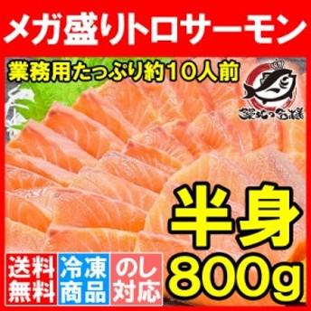 送料無料 メガ盛り トロサーモン 半身!お刺身用トラウトサーモン800gはメガ盛り約10人前。【鮭 サーモン 刺身 寿司 炙りトロ 業務用 料