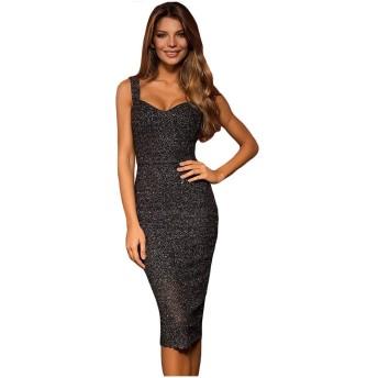 レディースイブニングドレス 女性のフラッシュシルクローカラーハイウエストスリムミドル丈ドレスセクシーなドレス パーティードレス ブライズメイド ドレス (Color : Blue, Size : M)