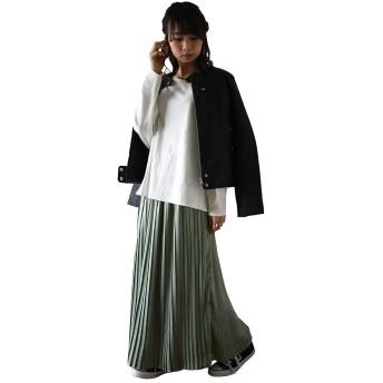 [アンドイット] and it_ シルキーサテンプリーツスカート レディース 艶 光沢上品 春カラー オリーブL